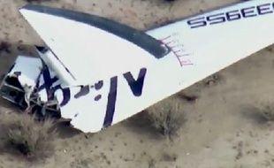 Photo prise de SpaceShipTwo, vaisseau spatial la firme de Richard Branson qui s'est écrasé le 31 octobre.