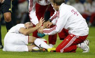 L'attaquant du Bayern Munich Franck Ribéry, blessé lors d'un match de championnat d'Allemagne face à Hoffenheim, le 21 septembre 2010.