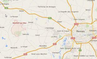 Plan de situation de Montfort-sur-Meu, près de Rennes.