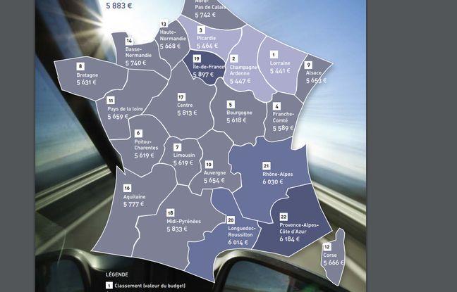 Le budget total de l'automobiliste en 2016, région par région.