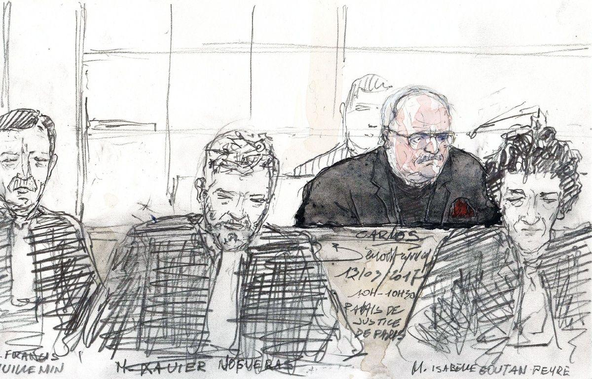 Carlos et ses avocats lors du premier jour de son procès pour l'attentat du drugstore Publicis de Saint-Germain. – Benoit PEYRUCQ / AFP