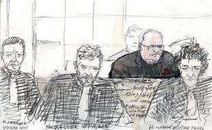 Carlos et ses avocats lors du premier jour de son procès pour l'attentat du drugstore Publicis de Saint-Germain.