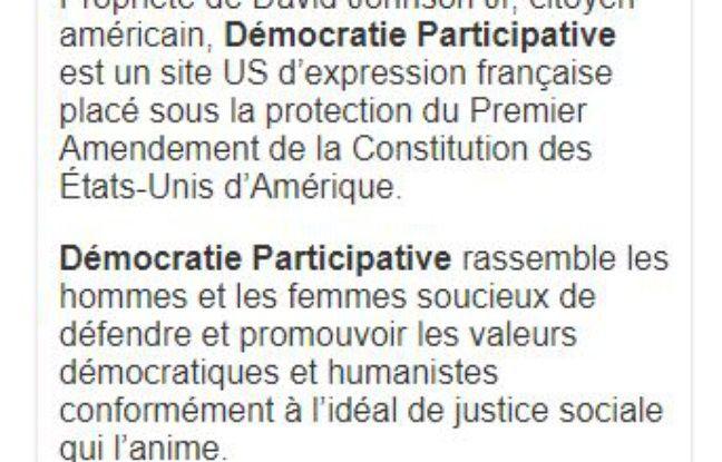 Capture des mentions légales du site «Démocratie Participative».