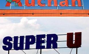 Combo des deux enseignes Auchan et Système U qui veulent renforcer leur alliance sur les achats