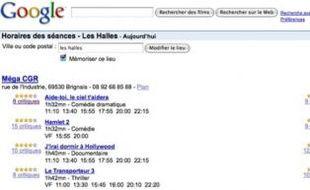 L'interface de Google movies