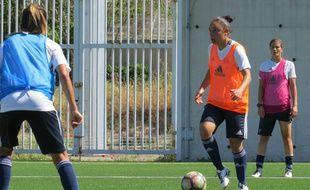 Sandrine Brétigny aka «Brétigoal», à l'entraînement.