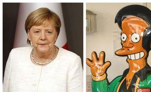 Collage 20 Minutes Angela Merkel, chancelière allemande, et le personnage d'Apu dans la série