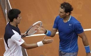 Novak Djokovic et Rafael Nadal,  le 18 mai 2014 à Rome.