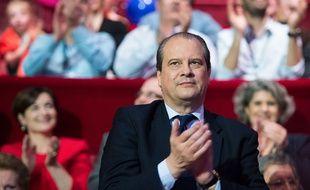 Jean-Christophe Cambadélis lors du meeting de lancement de la campagne des socialistes pour l'élection européenne le 17 avril 2014.