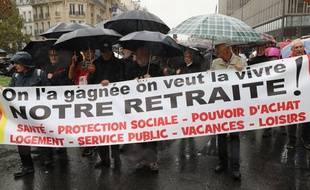 Une manifestation contre la réforme des retraites à Paris, le 8 octobre 2019.