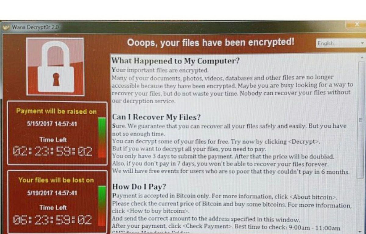 Capture d'écran d'un ordinateur du service public de santé britannique (NHS) victime d'une cyberattaque sous forme de demande de rançon le 12 mai 2017.  – Twitter