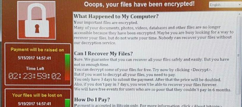 Capture d'écran d'un ordinateur du service public de santé britannique (NHS) victime d'une cyberattaque sous forme de demande de rançon le 12 mai 2017.