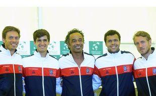 Mahut, Herbert, Tsonga et Pouille entourent leur capitaine Yannick Noah