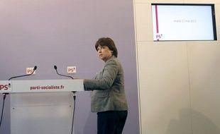 Martine Aubry, avant une conférence de presse au siège du Parti socialiste, le 17 mai 2011.