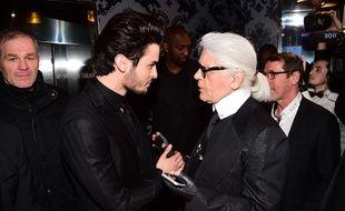 Baptiste Giabiconi et Karl Lagerfeld, le 28 février 2015, à Paris