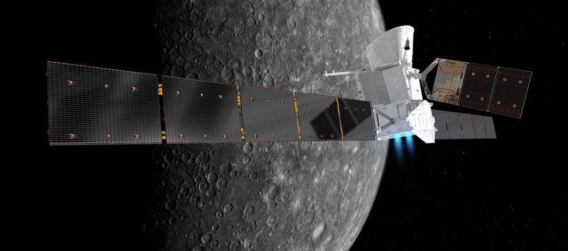 Vue d'artiste de l'arrivée des deux sondes de la mission Bepi Colombo en 2025 sur Mercure.