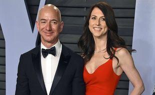 Jeff et MacKenzie  Bezos à la fête post-Oscars de Vanity Fair, le 4 mars 2018.