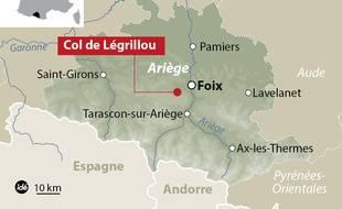 Carte de localisation du col de Légrillou, en Ariège.