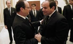 Le président François Hollande et son homolgue égyptien Abdel Fatah al-Sissi le 24 jnavier 2015 à Ryad