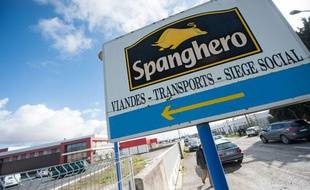 L'entrée de l'usine Spanghero, à Castelnaudary (Aude).