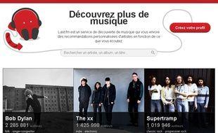 Capture d'écran du site Last.FM.