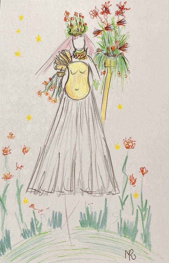 L'un des costumes, paré de fleurs, imaginé par Benjamin Larosa pour le salon de l'agriculture.