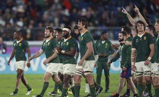 Les Springboks après leur victoire contre le pays de Galles, à Yokohama le 27 octobre 2019.