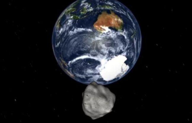 Vue d'artiste de l'astéroïde D14, un caillou de 45 mètres de diamètre.