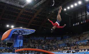 Simone Biles lors de son unique saut de la journée.
