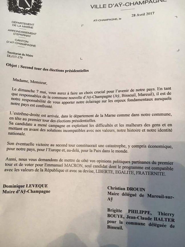Une copie du courrier envoyé par le maire d'Aÿ-Champagne avec ses deux édiles délégués nous a été envoyé par des lecteurs.
