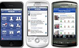 Facebook sur iPhone, Android et BlackBerry