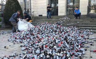Des représentants de la ZAD déversent des centaines de capsules lacrymogènes devant la préfecture.