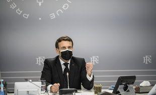 Emmanuel Macron le 12  février 2021.