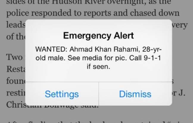 L'alerte reçue par les New Yorkais le 19 septembre 2016.