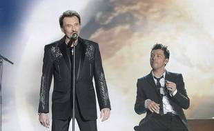 Johnny Hallyday et Christophe Maé en duo aux Victoires de la Musique en 2009.