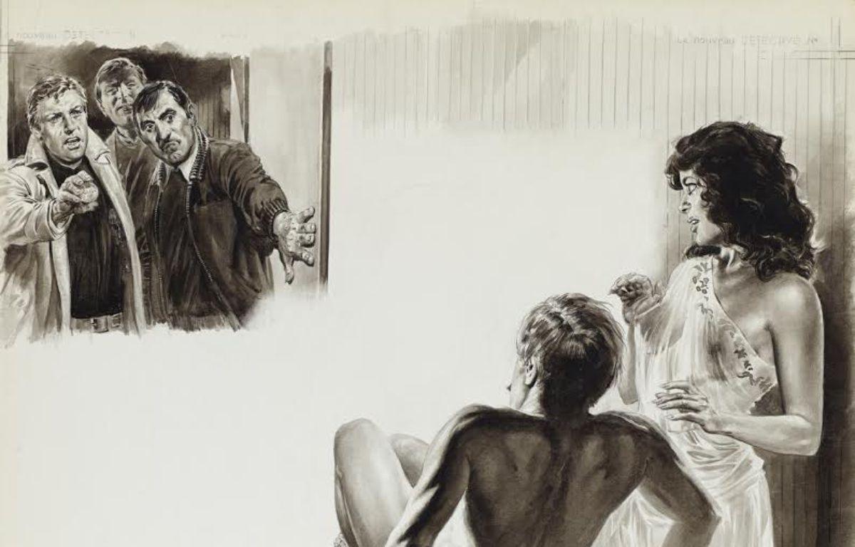 «Affaire de drugs dans salon de massage», illustration parue dans «Le Nouveau détective» numéro 114. – Angelo DI MARCO