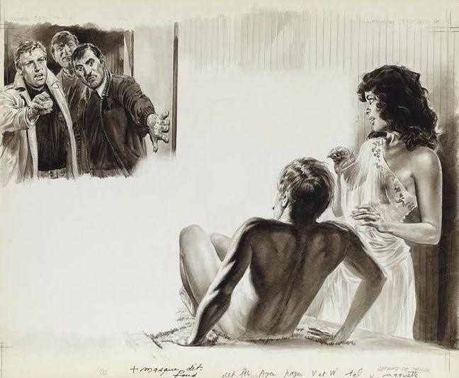 «Affaire de drugs dans salon de massage», illustration parue dans «Le Nouveau détective» numéro 114.