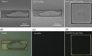 Cet objet miniature devient invisible une fois recouvert par une couche de nanotubes de carbone.