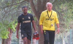 Charles N'Zogbia et la coach René Girard ce jeudi midi.