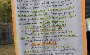 Le mot affiché par Gérard afin de retrouver ses photos et ses numéros.