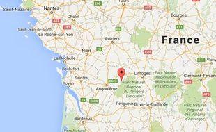 Localisation de Roussines, en Charente