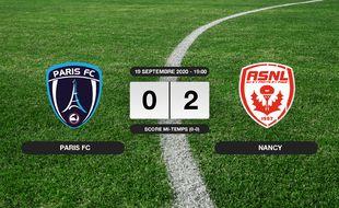 Ligue 2, 4ème journée: Nancy bat le Paris FC 0-2 au stade Charléty