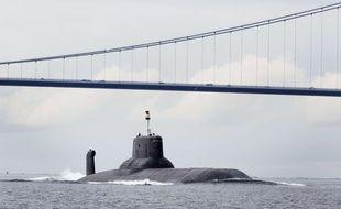 Le sous-marin nucléaire russe «Dmitrij Donskoj», le 21 juillet 2017, dans le détroit de Grand Belt, au Danemark (illustration).