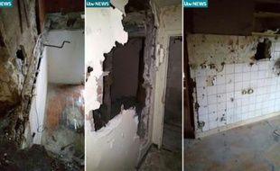Montage de quatre captures d'écran d'ITV News le 22 novembre 2015, de l'appartement de Saint-Denis où étaient retranchés trois jihadistes