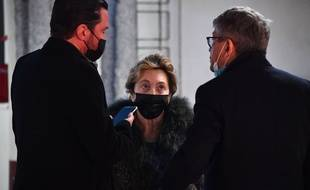 Jacqueline Veyrac au palais de justice de Nice le 8 janvier 2021 avec son fils et son avocat