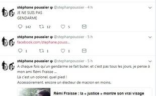 Capture d'écran du fil Twitter de Stéphane Poussier, ancien candidat FI dans le Calvados en 2017.