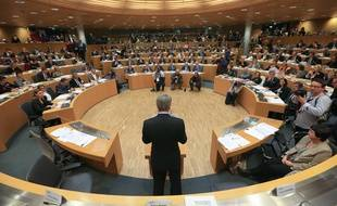 Strasbourg, le 4 janvier 2015. - Dans son discours d'intronisation au poste de président de la région Alsace-Champagne-Ardenne-Lorraine, Philippe Richert a annoncé une baisse des indemnités des conseillers régionaux.