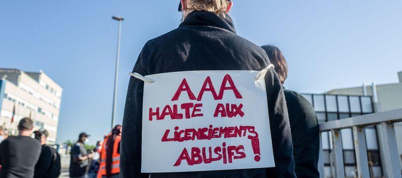 Lors d'une manifestation devant le site AAA de l'agglomération toulousaine.