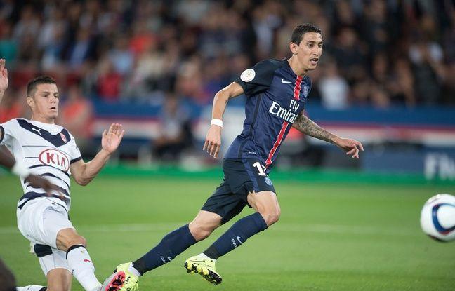 Frédéric Guilbert et Angel Di Maria lors du match disputé entre les Girondins et le PSG, le 15 septembre 2015 à Paris.