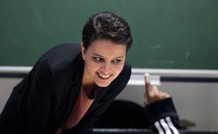 Najat Vallaud-Belkacem, le 22 février 2016 dans une école au Havre